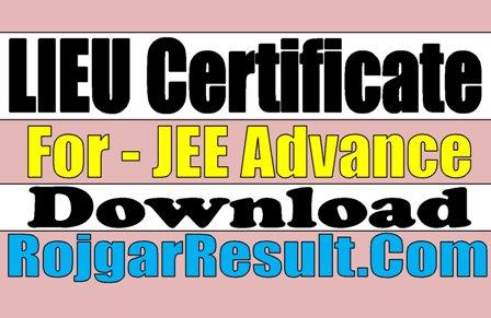 Download LIEU Certificate 2020 - JEE Advance