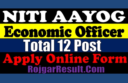 NITI Aayog Economic Officer 2020 Apply Online Form