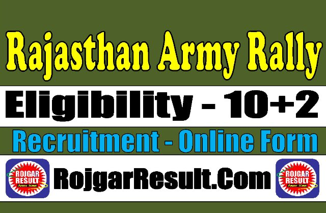 Rajasthan Army Rally JCO / OR Recruitment 2021 Apply Online Form